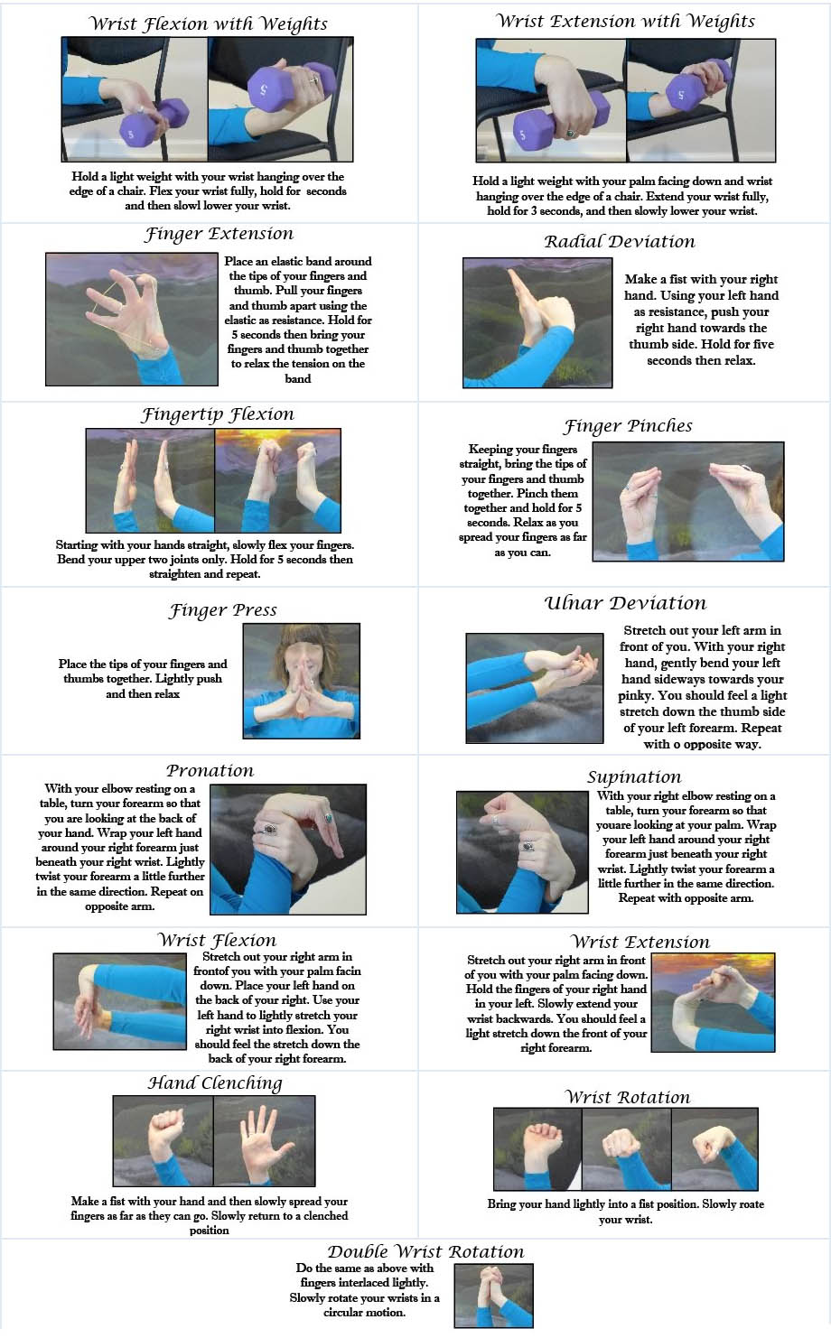Forearm & Hand Patient Stretch & Exercise Guide